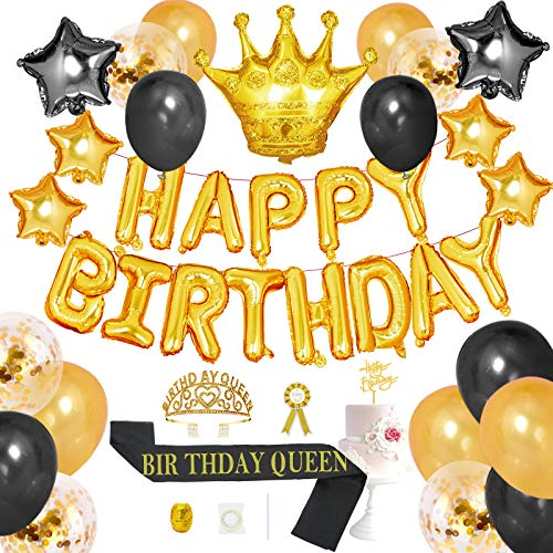 NUZYZ 43pcs Birthday Decoration Kits Queen Birthday Sash And Crown Tiara For Women Party Supplies With Happy Birthday Balloons,Cake Topper for Birthday Celebration Gifts (Q-Gold)