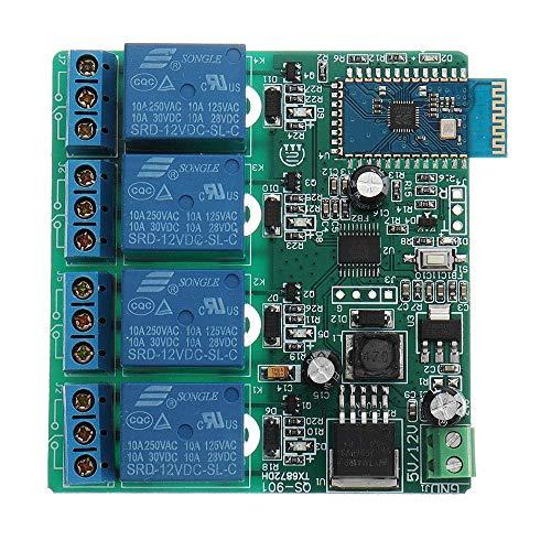YINGGEXU Módulo de relé interruptor de control 12 V 4 canales módulo de relé Bluetooth teléfono móvil inalámbrico módulo remoto industrial