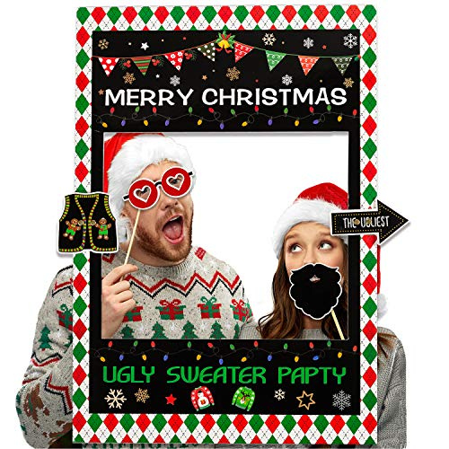 Funnlot Ugly Sweater Party Photo Booth Frame Tacky Photo Booth Frame 2 in 1 Christmas Photo Booth Frame Ugly Sweater Party Supplies Christmas Photo Booth Props Kit Holiday Photo Booth Props for Ugly Sweater Party Xmas New Year Party Supplies Party Theme Decorations