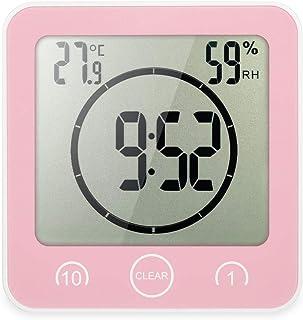 Annie life LCDデジタルウォールクロックデジタルバスルームクロック防水タイマー温度湿度ウォールシャワークロックキッチンタイマー (Color : Pink)