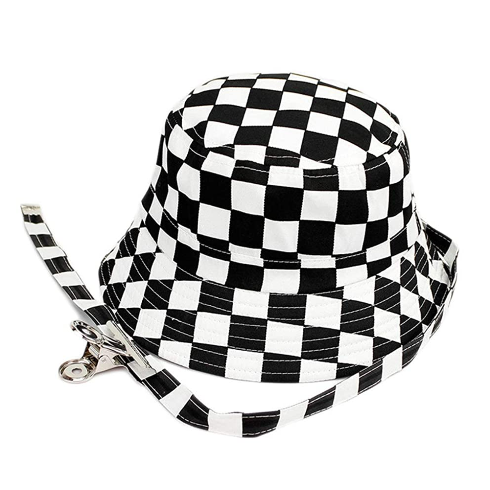 Unisex Summer Cotton Black and White Lattice Bucket Hat Fisherman Hat Sun Cap Hats