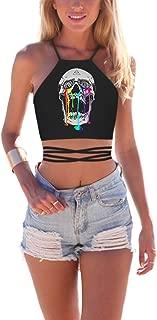 Women's Summer Halter Cross Hollow Boho Bandage Tank Camis Crop Top Vest