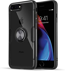 UARMOR iPhone 8 Plus Clear Case, iPhone 7 Plus Case, Ultra Slim Shockproof Cover Case with Ring Holder Kickstand Work with Magnetic Car Mount for Apple iPhone 7 Plus/iPhone 8 Plus 5.5 inch, Black