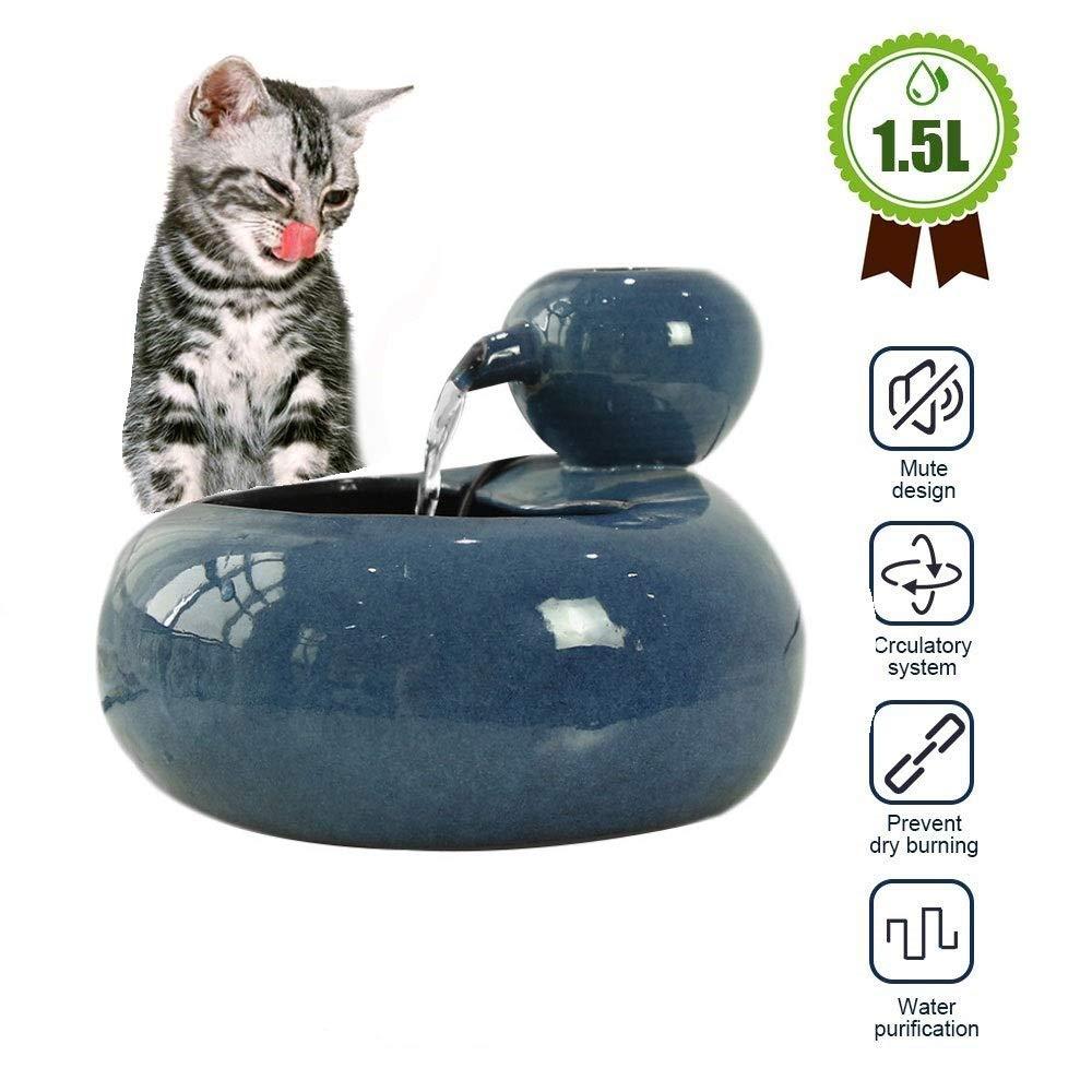 Fuente para gatos Fuente de agua para gatos, fuente de cerámica para gatos para gatos y perros, fuente para gatos con filtro - Dispensador automático de fuentes para mascotas 1.5L bebedero perro: