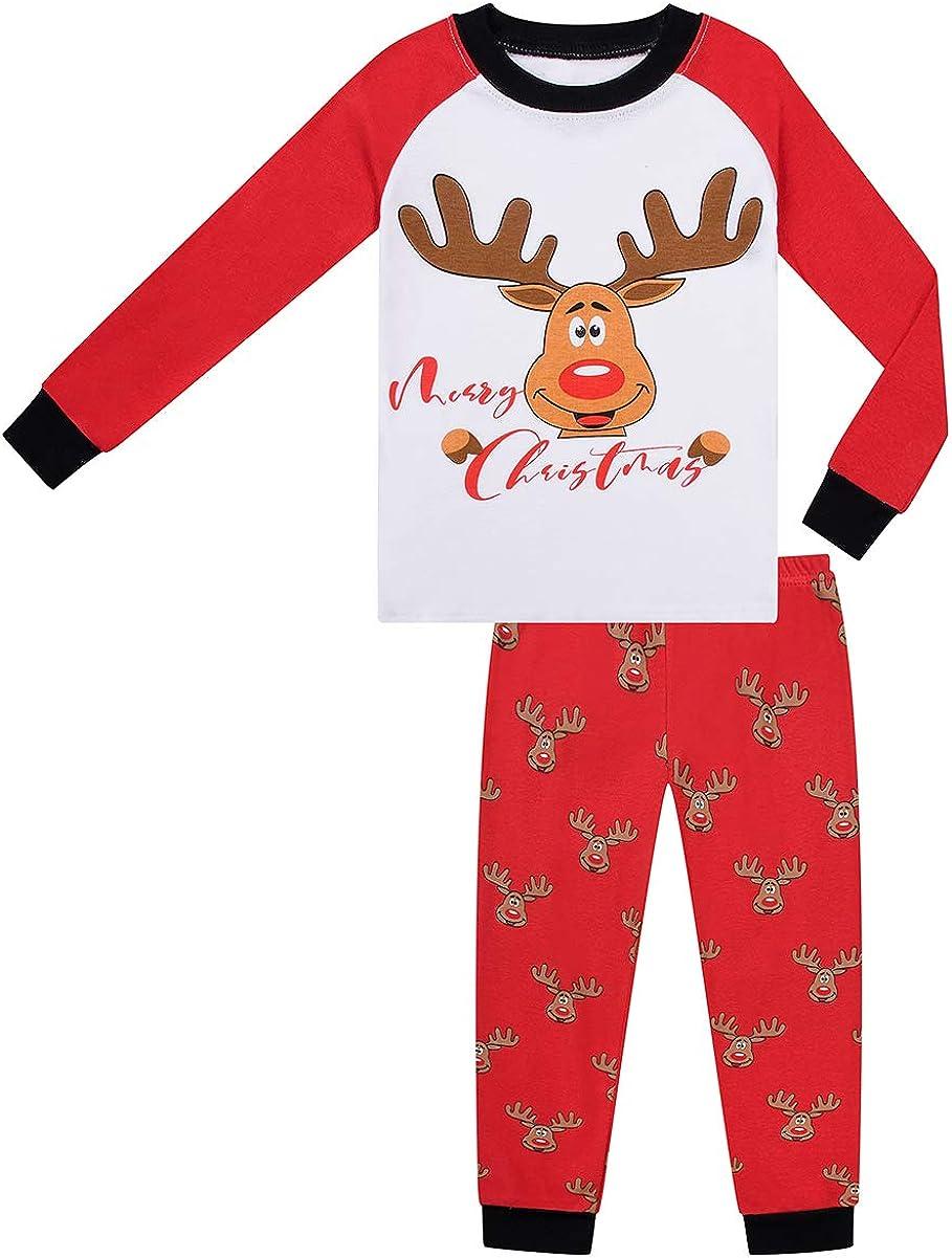 Christmas Pajamas Boys Girls Merry Christmas Deer Antlers pjs PJs Gift Set (Deer Antlers,6)