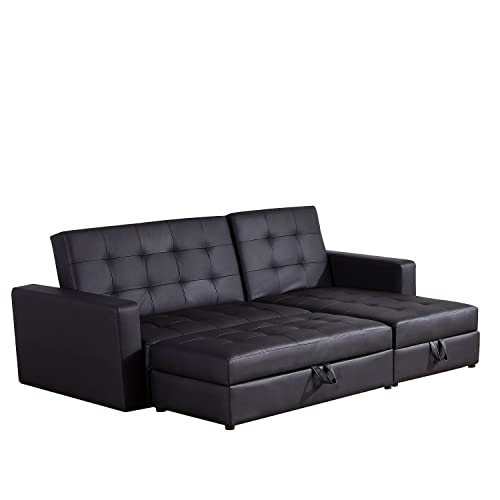 Black Leather Sofa Bed: Amazon.co.uk