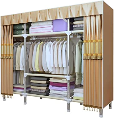 YG-BY Wardrobes Fabric Wardrobe Metal Tubes Extra Strong and Durable, Closet Bedroom Quick and Easy to Assemble, Home Bedroom Furniture
