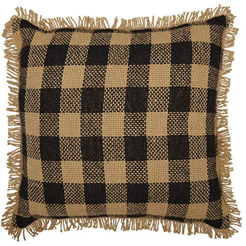 VHC Brands Burlap Black Check Pillow 12x12 Country Rustic Primitive Bedding Accessory, Black and Tan