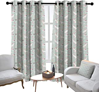 Print Curtains for Bedroom Curtain Easter,White Rabbits Smelling the Fresh Spring Air Flowers Eggs and Hearts in Pastel Colors, Multicolor,Grommet Window Treatment Set for Living Room 54
