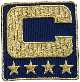Navy Blue Captain C Patch (All Gold) Iron On for Jersey Football, Baseball. Soccer, Hockey, Lacrosse, Basketball