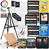 149Pcs Deluxe Artist Painting Set with Aluminum and Solid Beech Wood Easel, 96 Paints, Stretched Canvas and Accessories, Art Paint Supplies for Artists, Beginner & Adults