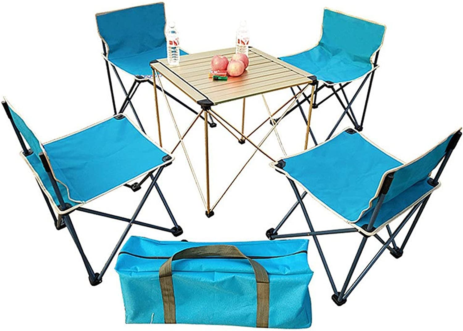 Folding Camping Table and Chairs Aluminum Ultralight Roll Up Table Top for Picnic Hiking Travel Beach Barbecue,5PCS
