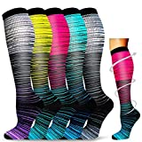 5 Pairs Copper Compression Socks for Men Women Circulation 20-30 mmHg, is Best for Running Medical Nurses Pregnancy Travel (01-5 Assorted, Large/X-Large)