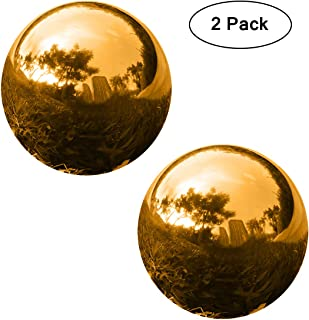 YeahaWo Golden Gazing Balls for Garden, Gazing Mirror Ball Shiny Polished Stainless Steel Hollow Globe Sphere, Pack of 2 (4.7 Inch)