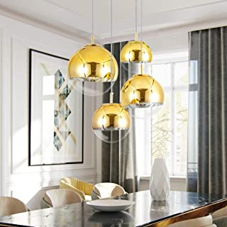 Mzithern Pendant Lighting Vintage Globe Adjustable Height Chandelier Mid Century Modern Mirror Ball Light with Clear Glass Metal Polished Gold Finish for Living Room Kitchen Island Hallway Bar 6inche
