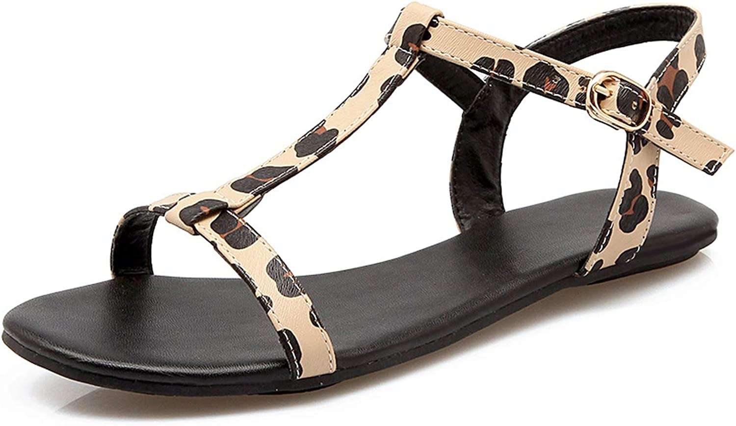 Pink-star New Sexy Leopard Women shoes Summer T-Strap Women Sandals Flat Sandals Women Casual Beach shoes