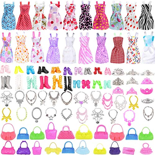 80 Stück Kleidung Accessories für Puppen, 20 Set Kleid Dress, 30 Stück Schmuckzubehör erhalten Halskette Spiegel Kleiderbügel, 20 Paar Schuhe und 10Pcs Handtasche für 11,5 Zoll Mädchen Puppen