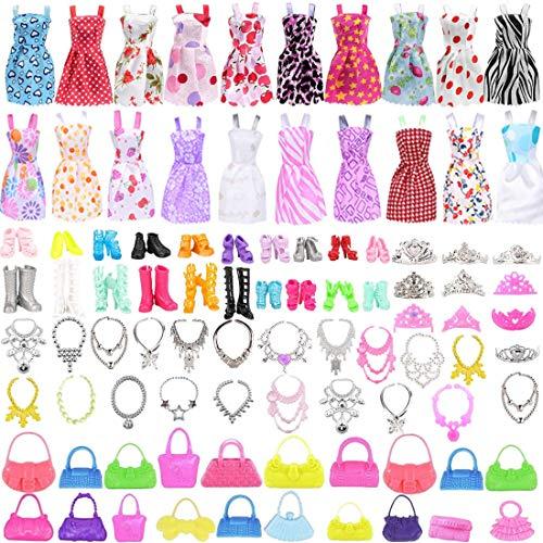80 Stück Kleidung Accessories für Barbie Puppen, 20 Set Kleid Dress, 30 Stück Schmuckzubehör erhalten Halskette Spiegel Kleiderbügel, 20 Paar Schuhe und 10Pcs Handtasche für 11,5 Zoll Mädchen Puppen