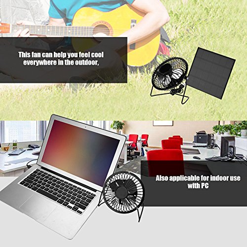 Solar Fan 3W 6V Solarpanel Powered Lüfter Fan Mini Tragbare Fan USB Kuehlung Luefter im Freien Ventilator Fan für Camping Reisen Angeln Home Office