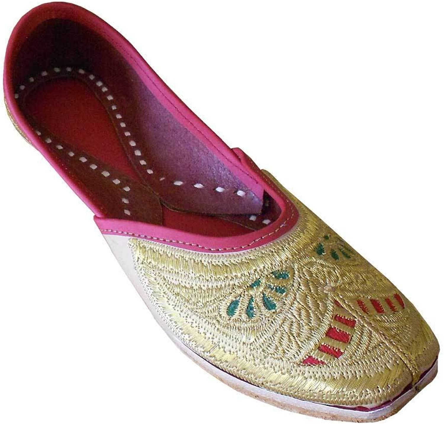 Kalra Creations Women's Traditonal Indian Faux Leather with Embroidery Wedding shoes