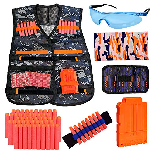 NIGOE Kids Tactical Vest Kit for Nerf Guns N-Strike Elite Series Gun with 50 Pcs Refill Darts, Reload Clip, Dart Pouch, Tube Mask, Wrist Band and Protective Glass, Camouflage