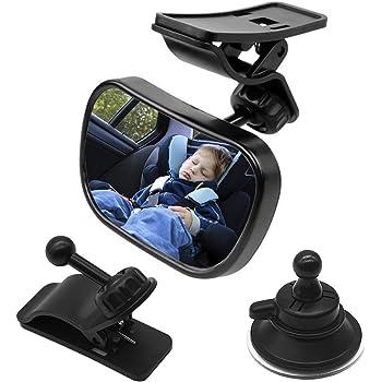 Natuce 1 Bébé Vue Arrière Miroir + 2 Supports, Rétroviseur de Surveillance pour Bébé, Miroir de Voiture, Bébé Rétroviseur Sécurité, Rétroviseur incassable de Voiture, Miroir de sécurité,Rotation 360°