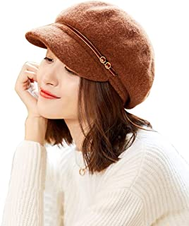 Wool Newsboy Hat Spring and Autumn Winter Hat Sun Hat Beret Cold Weather Knitted Ski Hat Female Hat Wool Hat Fashion Casual Warm and Comfortable (Color : Brown)