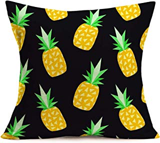 SmilyardPineapples Throw Pillow Covers Cotton Linen Summer Fresh Fruit Theme Decor Pillow Case Cushion Cover Square Outdoor Decorative 18x18 Inch Pillow Cover for Sofa Couch Bed(Pineapples)