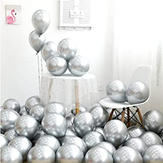 Metallic Silver Balloons 12 inch 50pcs Party Balloons Birthday Helium Balloon Chrome Latex Balloons