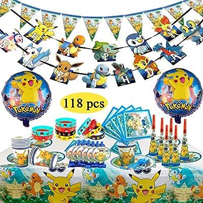 Decoración de la Fiesta de cumpleaños Infantil de Pokemon, Pokemon Pulsera de Silicona para la celebración de Fiestas para 10 Invitados (118 Piezas) por YIXIA