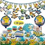 Decorazione per Feste di Compleanno per Bambini di Pokemon, Pokemon Braccialetti Party Kit Pokemon Kids Birthday Party Decoration per 10 Ospiti per Festeggiamenti (118 Pezzi)