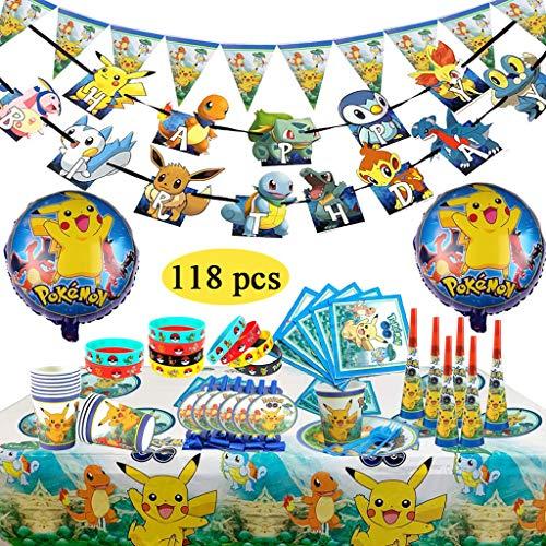 Pokemon Kindergeburtstag Party Dekoration, Pokémon Silikon Armband Teller Tassen Servietten Tischdecken Mit Ballon Pack für 10 Gäste zum Feiern (118 pcs)