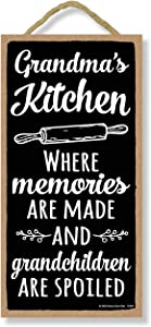 Honey Dew Gifts, Grandma's Kitchen, Funny Kitchen Wall Decor, Grandma Quotes Wooden Decorative Sign, 5 Inches by 10 Inches
