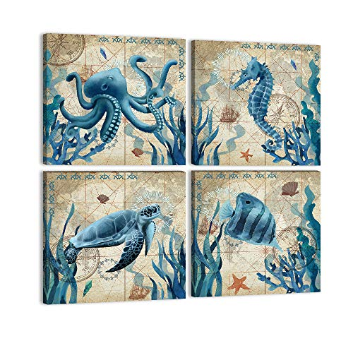 Ocean Animal Bathroom Wall Art Teal Canvas Sea Turtle Seahorse Octopus Fish Paintings Prints 4 Panels Nautical Beach Theme Poster Wall Decor for Bathroom Kitchen Bedroom Framed Ready to Hang-12'x12'x4
