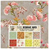 Decoupage Paper Pack (24 Sheets 6'x6') Japanese Flowers FLONZ Vintage Styled Paper for Decoupage, Craft and Scrapbooking