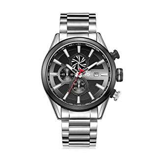 T5 H3627G-B Round Stainless Steel Analog Watch for Men - Silver