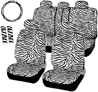 DKX Short Plush White Seat Covers Set Universal Fit Most Car Seats Steering Wheel Cover Shoulder Pad Car Seat Cover (Size ...