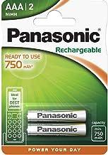 Panasonic - Pilas recargables (750 mAh,NiMH, P03 HR03, Micro AAA, 2 unidades)