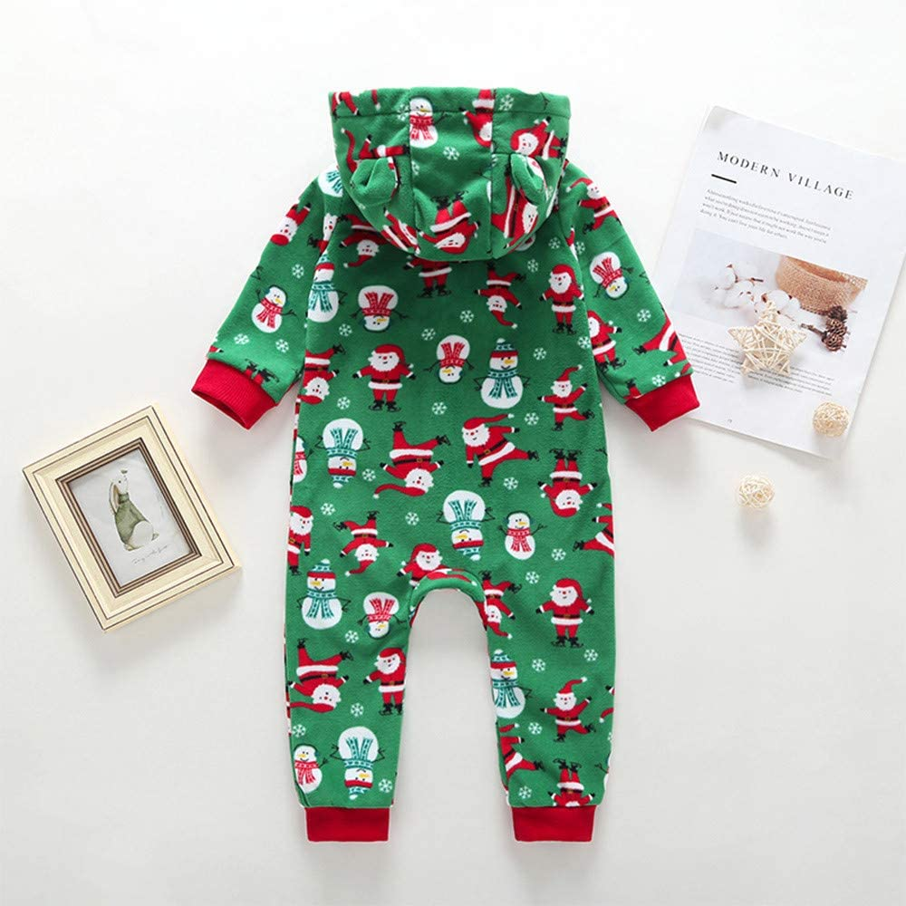FORESTIME Newborn Infant Baby Boy Girl Hooded Cartoon Flannel Romper Jumpsuit Warm Clothes