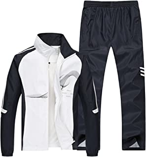 Men's Athletic Full Zip Jogger Sweat Suit Casual Running Tracksuit Outfit