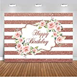 Mocsicka Rose Gold Happy Birthday Backdrop, Pink Rose Birthday Photography Background, 7x5ft Women's Birthday Party Photo Backdrops Banner