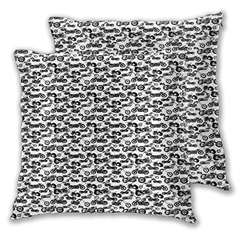 BROWCIN Throw Pillow Covers Set of 2 Motorcycle Retro Chopper Monochrome Motorbike Adventure Cruising Theme Pillowcase for Living Room Bedroom Sofa Couch Decorative Cushion Cover without Pillow 30cm x