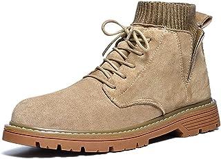 GYYY Bottines pour Hommes Highschool Top Work Chaussures Tirez sur Faux Suisse Tige Tige Toe Toe Élastic Chaussette Chauss...