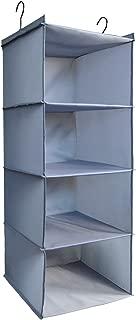 IsHealthy Hanging Closet Organizer and Storage 4-Shelf, Easy Mount Foldable Hanging Closet Wardrobe Storage Shelves, Clothes Handbag Shoes Accessories Storage, Washable Oxford Cloth Fabric, Gray