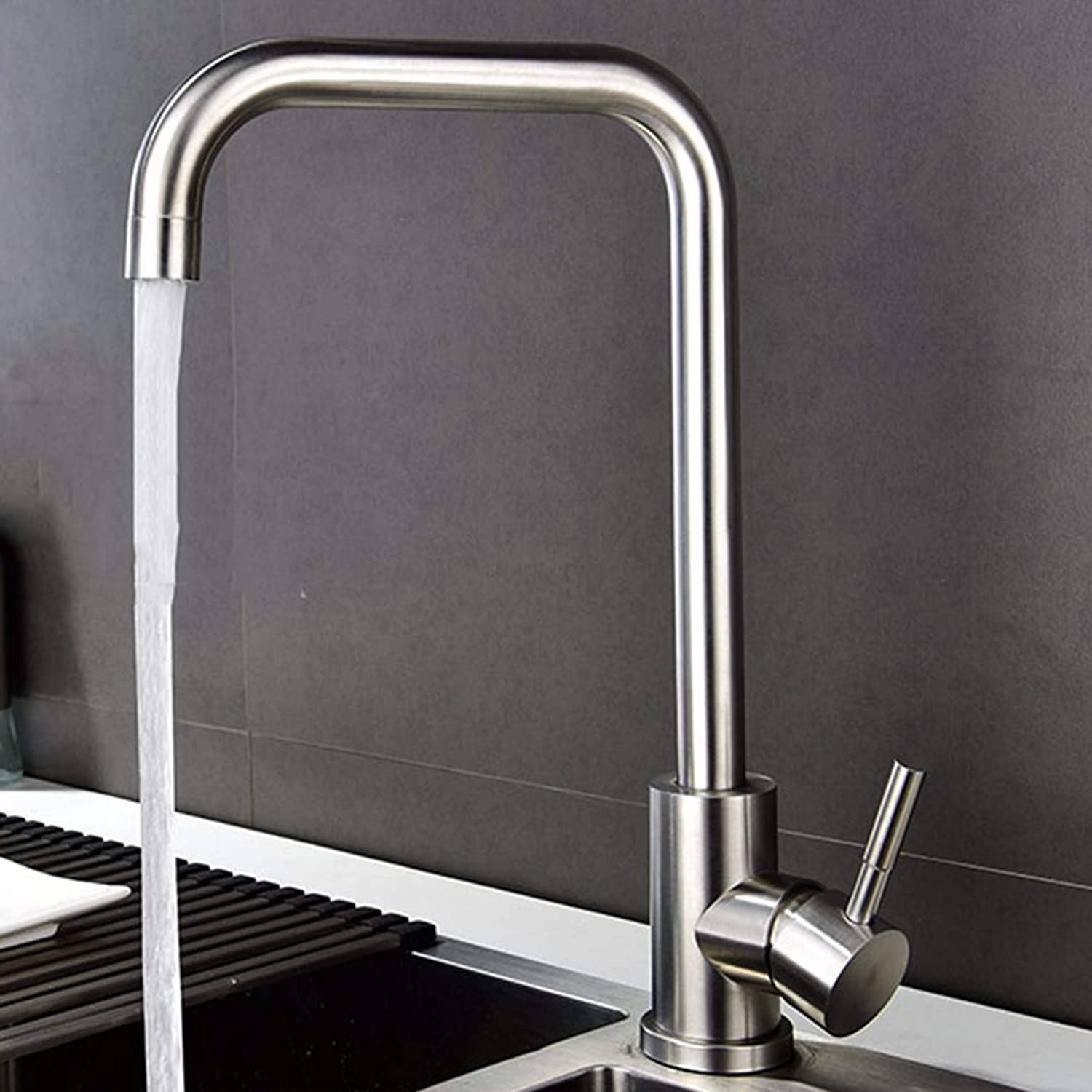 MulFaucet Kitchen Stainless Steel hot and Cold Faucet Sink Sink redatable Faucet Single Handle Double Hole Sink Faucet D
