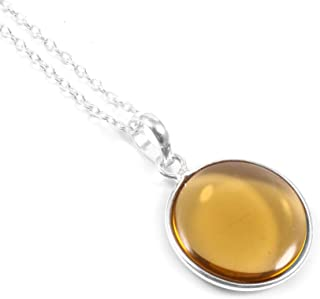 Ratnagarbha Honey Quartz Pendant, Round Gemstone Pendant, BFF Birthday Gift, Warm Honey Color Pendant, Simple Delicate Nec...