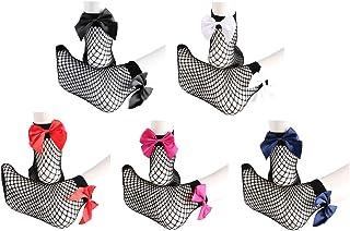 TENDYCOCO, Calcetines de Novedad Calcetines de Red de Mujer Calcetines Cortos de Tobillo con Calcetines Huecos de Lazo Sexy 5 Pares/Set