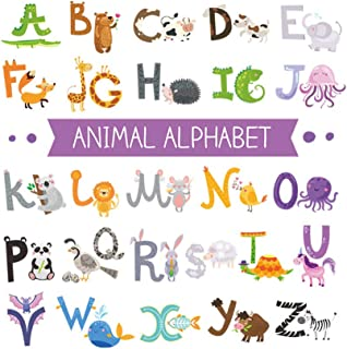 Tomaibaby 5 Sheets Alphabet Animal Wall Decals Self-Adhesive Wall Sticker Wall Mural Decoration for Kids Living Room Bedro...
