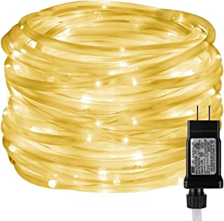 LE LED Rope Lights with Timer, 8 Modes, Low Voltage, Waterproof, Warm White, 33ft 100 LED Indoor Outdoor Plug in Light Rope and String for Deck, Patio, Bedroom, Pool, Boat, Landscape Lighting and More