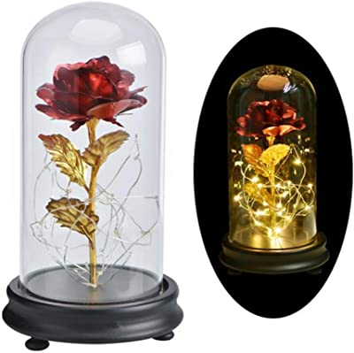 Angmile 24K Gold-Plated Rose in Glass Cover Artificial Flowers Beauty and The Beast Rose Valentine's Day Present Forever Rose Forever Love for Lover, Mother, Girlfriend